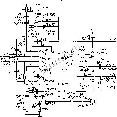 схема предварительного усилителя на к157уд2 - Практическая схемотехника.