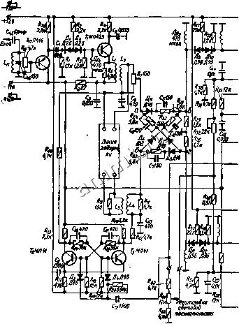 Схема опознавания собрана на транзисторах 7g, Ti, образующих триггер Шмитта, При отсутствии сигналов цветности (прием...